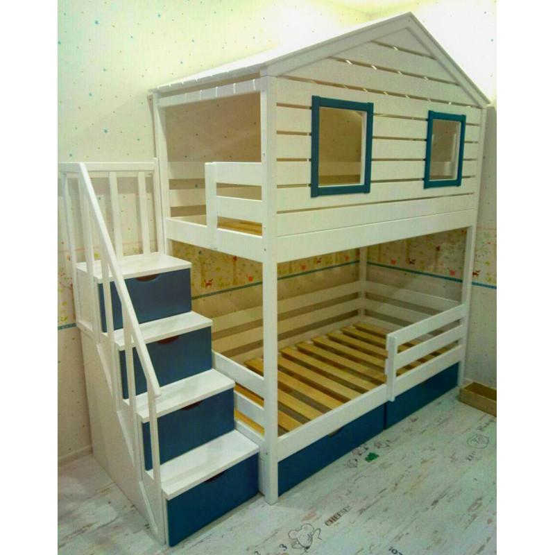 Детская двухъярусная кроватка с лестницей-комодом